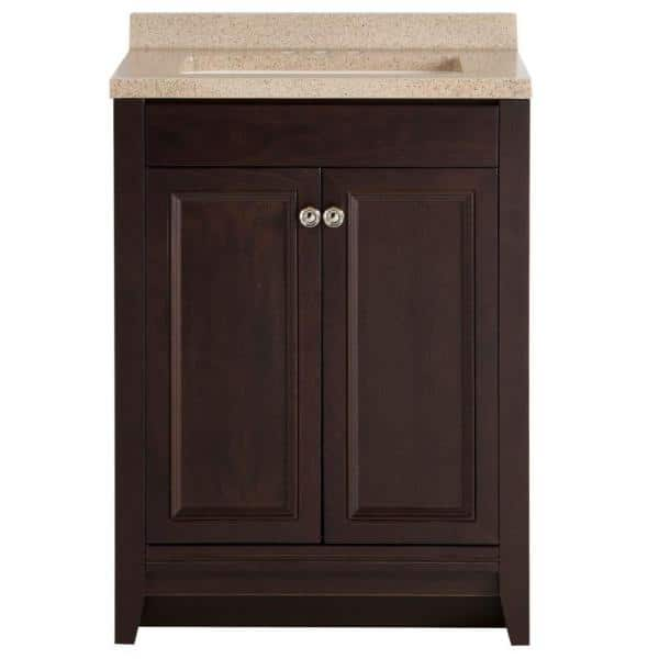 Glacier Bay Delridge 24 In W X 35 In H X 19 In D Bathroom Vanity In Chocolate With Solid Surface Vanity Top In Caramel Mvc24p2 Ch The Home Depot