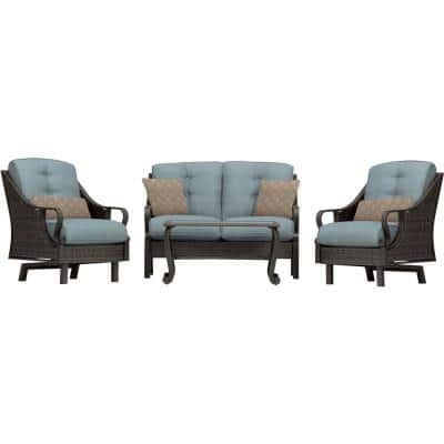 Ventura 4-Piece All-Weather Wicker Patio Seating Set with Ocean Blue Cushions