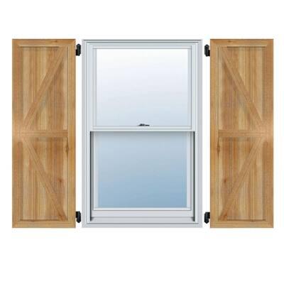 "16-1/8"" X 60""Timbercraft Rustic Wood Three 5-3/8""Framed Board and Batten Shutters with Z-Bar Rough Sawn Cedar(pair)"