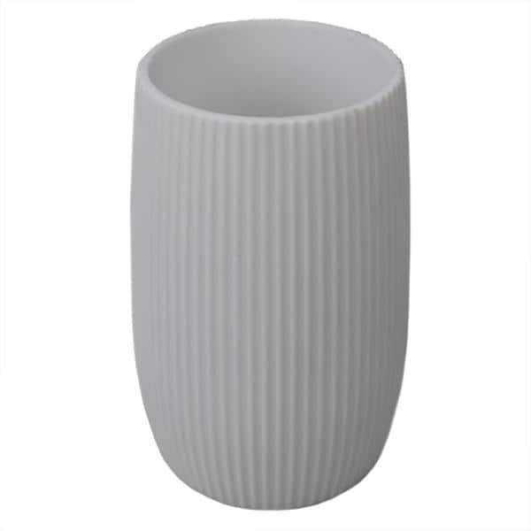 Home Basics Rubberized Ribbed Plastic Bathroom Cup Tumbler In White Hdc69930 The Home Depot