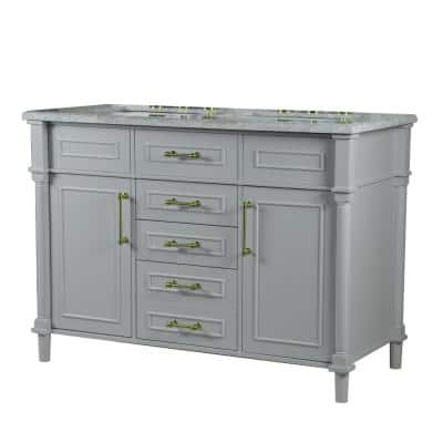 48 in. Double Bathroom Vanity in Light Gray with White Marble Top with White Basins and Gold Hardware