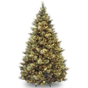 7-1/2 ft. Carolina Pine Hinged Tree with Flocked Cones and 1000 Clear Lights