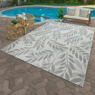 Paseo Faiza Gray 8 ft. x 10 ft. Floral Indoor/Outdoor Area Rug