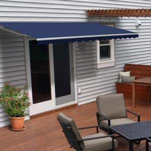 10 ft. Manual Patio Retractable Awning (96 in. Projection) in Solid Blue