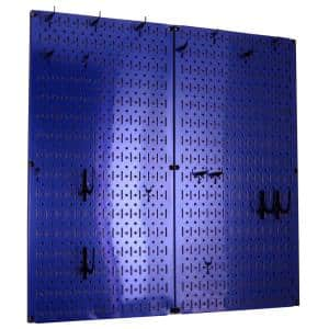 Kitchen Pegboard 32 in. x 32 in. Metal Peg Board Pantry Organizer Kitchen Pot Rack with Blue Pegboard and Blue Peg Hooks