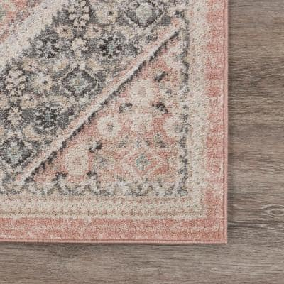 Dune Soft Pink/Gray 7 ft. 9 in. x 9 ft. 5 in. Traditional Persian Polypropylene Indoor Area Rug