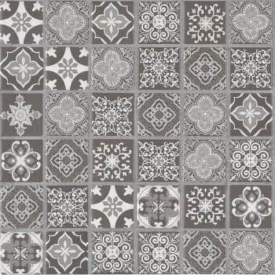 Anya Charcoal Encaustic 12 in. x 12 in. x 6 mm Glossy Ceramic Mosaic Tile (14.55 sq. ft. / case)