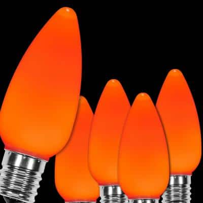 OptiCore C9 LED Orange Smooth/Opaque Replacement Light Bulbs (25-Pack)