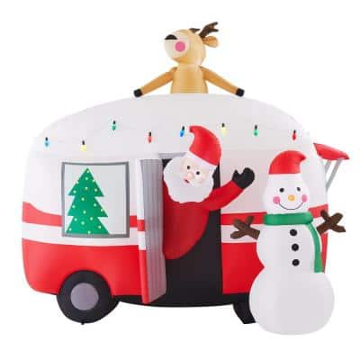 7 ft. Pre-Lit Inflatable Jolly Holiday Camper with Santa and Snowman