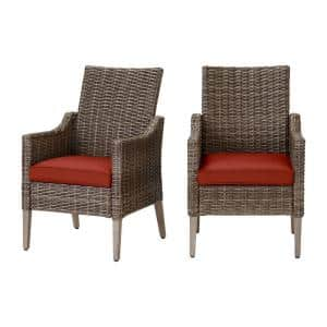 Rock Cliff Brown Wicker Outdoor Patio Stationary Dining Chair with Sunbrella Henna Red Cushions (2-Pack)