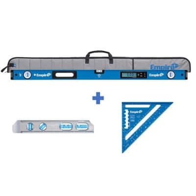 48 in. Digital Box Level with Case and 8 in. Magnetic Torpedo Level and Rafter Square in True Blue