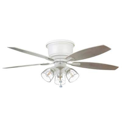 Stoneridge 52 in. Indoor LED Matte White Hugger Ceiling Fan with Light Kit and 5 QuickInstall Reversible Blades