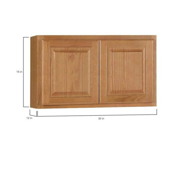 Hampton Bay Hampton Assembled 30x18x12 In Wall Bridge Kitchen Cabinet In Medium Oak Kw3018 Mo The Home Depot