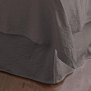 Putnam Matelasse 14 in. Dark Gray Cotton King Bed Skirt