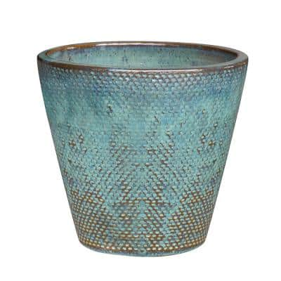 Peyton 14.6 in. x 13.4 in. Blue Patina Ceramic Pot