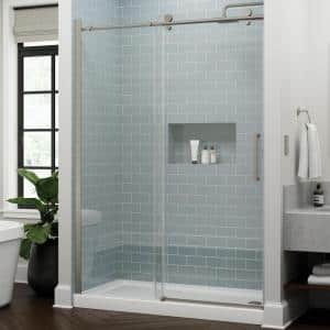 Exuma 60 in. W x 76 in. H Sliding Frameless Shower Door in Brushed Nickel with 3/8 in. (10 mm) Clear Glass