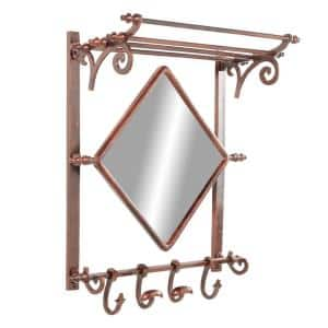 25 in. x 28 in. Copper Bathroom Decorative Wall Shelf with Hooks and Mirror