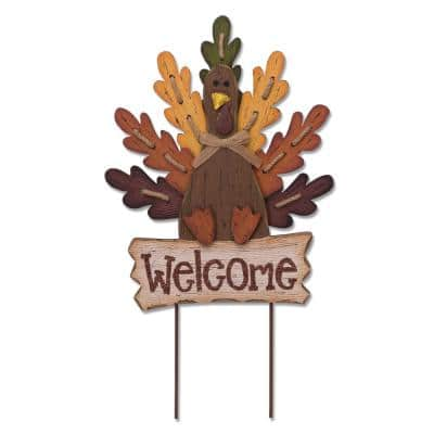 23.62 in. H Burlap/Wooden Turkey Welcome Sign or Yard Stake