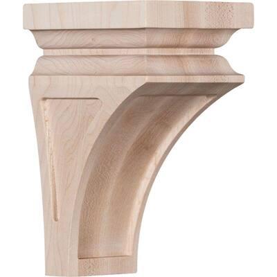 3-1/2 in. x 6 in. x 3-3/4 in. Red Oak Mini Nevio Wood Corbel