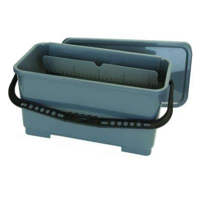 18 in. Rectangular Microfiber Pad and Squeegee Bucket in Gray (3-Pack)