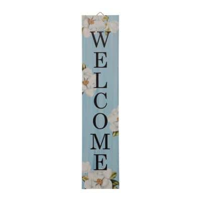 42 in. H Washed Blue Wooden WELCOME Porch Sign
