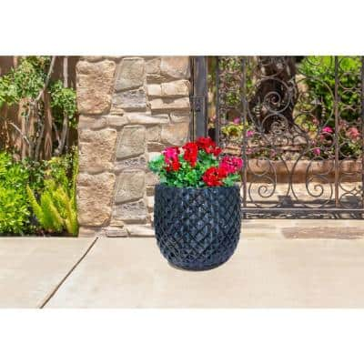 12 in. Blue Pinequilt Ceramic Planter