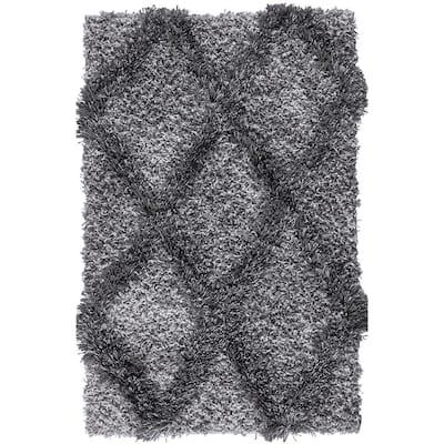 Valencia Gray Shag 2 ft. x 3 ft. Trellis Shag Area Rug