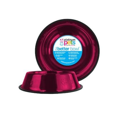 Embossed Non-Tip Stainless Steel Cat/Dog Bowl, Raspberry Pop