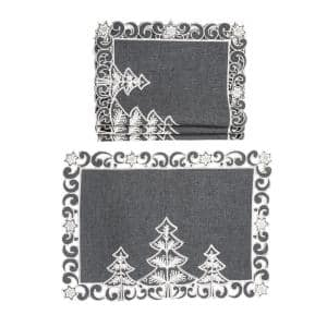 0.1 in. H x 20 in. W x 14 in. D Christmas Tree Embroidered Cutwork Christmas Placemats (Set of 4)