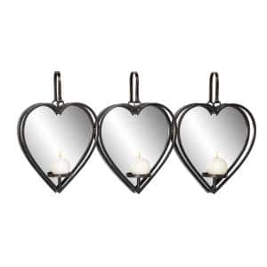 Heart-Shaped Black Metal and Mirror 3-Light Wall Sconce with Leather Straps