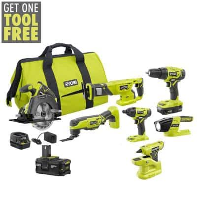 ONE+ 18V Cordless 6-Tool Combo Kit with (2) Batteries, Charger, Bag with Compact Glue Gun