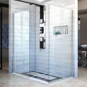 Linea 34 in. x 30 in. x 72 in. Semi-Frameless Corner Fixed Shower Screen in Brushed Nickel