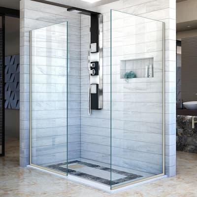 Linea 34 in. x 72 in. Semi-Frameless Corner Fixed Design Shower Screen in Brushed Nickel