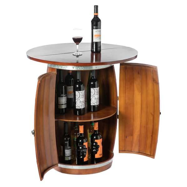 Vintiquewise Brown Wine Barrel Round, Round Table Storage Racks