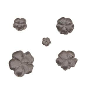 Natural 4, 6, 7, 9 and 11 in. Black Ceramic Floral Wall Trays (Set of 5)