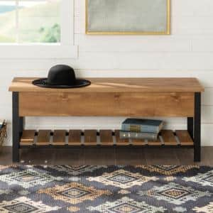 48 in. Barnwood Open-Top Storage Bench with Shoe Shelf