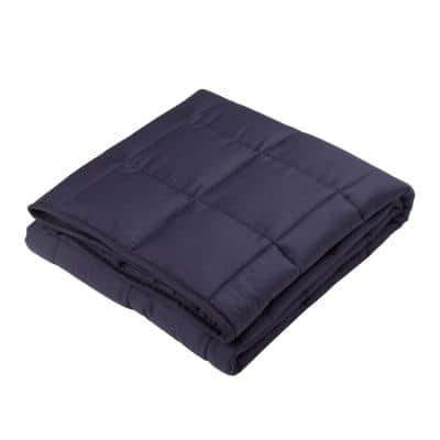 72 in. L x 48 in. W, 12 lbs. Navy Blue Cotton Shell Quilted Weighted Blanket with Polyester Filling