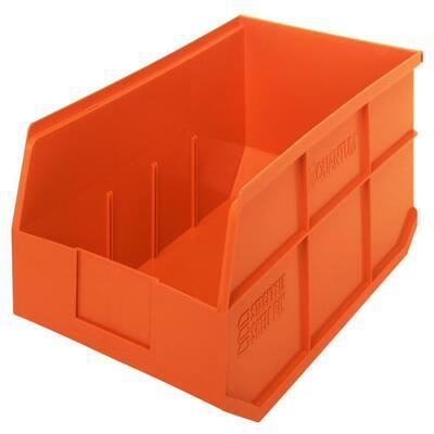 Stackable Shelf 24-Qt. Storage Tote in Orange (6-Pack)