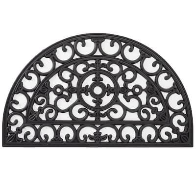 Wrought Iron Collection Black Half Round Fleur de Lis Filigree 18 in. x 30 in. Rubber Outdoor/Indoor Door Mat