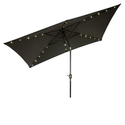 10 ft. x 6.5 ft. Rectangular Solar Powered LED Lighted Patio Umbrella in Black