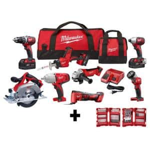 M18 18-Volt Lithium-Ion Cordless Combo Kit (8-Tool) with Three 4.0 Ah Batteries, 1 Charger, 2 Tool Bag and 100pc Bit Set
