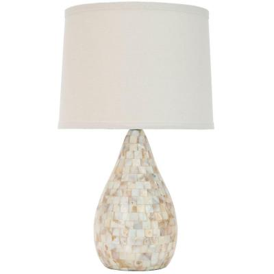 Lauralie 20.5 in. Cream Capiz Shell Table Lamp with Off-White Shade