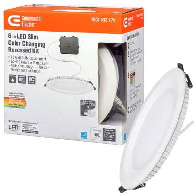 Ultra Slim 6 in. Selectable CCT Canless Color Integrated LED Recessed Light Trim Downlight 900 Lumens Dimmable