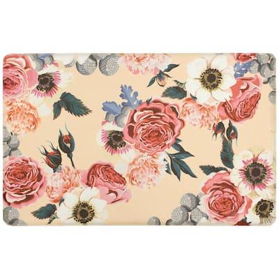 Floral 20 in. x 39 in. Anti-Fatigue Gelness Runner Kitchen Mat