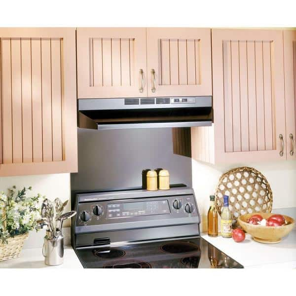 Broan Nutone Rl6200 Series 30 In Ductless Under Cabinet Range Hood With Light In Black Rl6230bl The Home Depot
