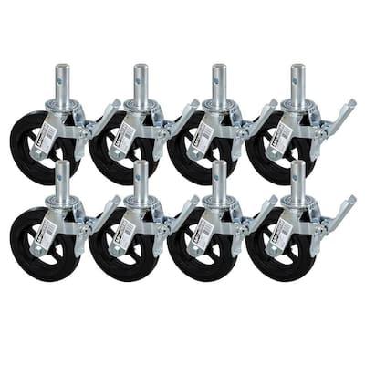 8 in. Scaffolding Caster Wheel in Heavy Duty Zinc/Aluminum Coated Steel with Safety Dual Lock Brake (8-Pack)