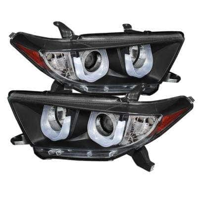 Toyota Highlander 11-13 Projector Headlights - 3D DRL - Black - High H1 (Included) - Low H7 (Included)