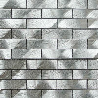 Urban Silver 1 in x 3 in  Aluminum Mosaic Tile