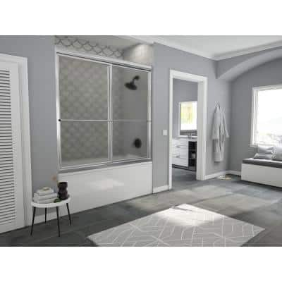 Newport 54 in. to 55.625 in. x 55 in. Framed Sliding Tub Door with Towel Bar in Chrome with Aquatex Glass