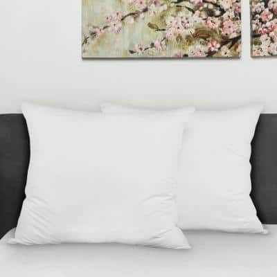 White Solid Hypoallergenic Down Alternative 28 in. x 28 in. Throw Pillow (Set of 2)